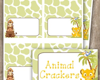 Lion King Baby Shower Birthday Food Tent Place Cards INSTANT DOWNLOAD Editable