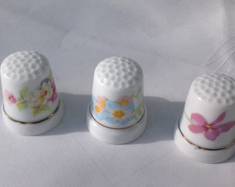 Sewing thimbles - set of 3 china porcelain with wildflower motifs