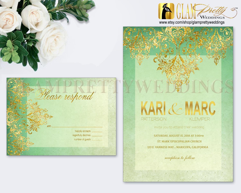Mint Green And Gold Wedding Invitations: Mint Green Gold Glitter Wedding Invitation & RSVP Card