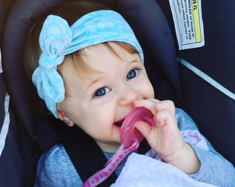 Baby Head Wraps, White and blue top knot headband, baby headband, toddler, blue swirls