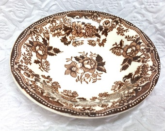 Vintage Royal Staffordshire Ironstone Bowl, Tonquin Royal Staffordshire Dinnerware by Clarice Cliff Brown Tonquin Dinnerware, Brown Floral