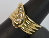 Large Antique 18ct Gold Old Cut Diamond Mens Snake Ring