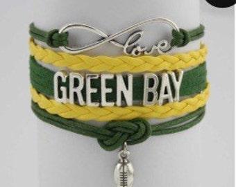 Green Bay Football Jewelry Packers football Fan Infinity love charm bracelet