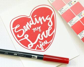 Sending My Love Heart Handlettered Card