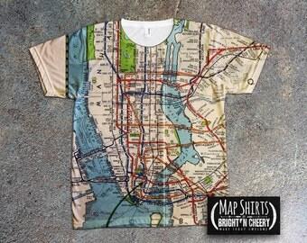 Vintage 1939 NYC Subway Map Shirt, all over print tee, MTA tshirt, metro tee, manhattan shirt, green line tee New York City, I love New York