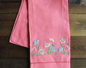 Pink floral linen tea towel