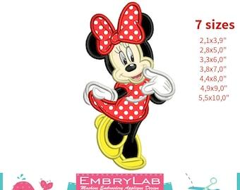 Applique Minnie Mouse. Machine Embroidery Applique Design. Instant Digital Download (16253)