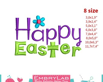Embroidery Design Mini Lettering Happy Easter (16128)