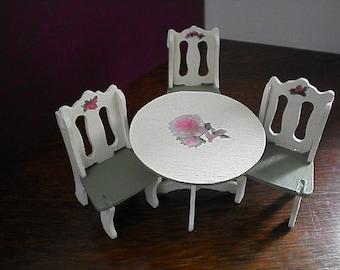Handmade Dollhouse Furniture//Dollhouse Dining Table//Dollhouse Chairs//Dollhouse Shabby Chic