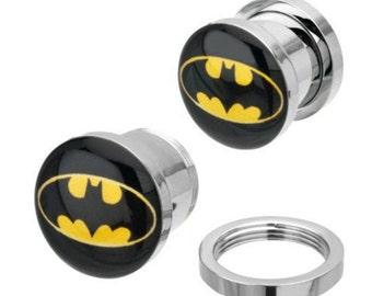 Batman Superhero Logo Steel Screw Fit Ear Plug Flesh Tunnel Stretcher 6-12mm (Pair)