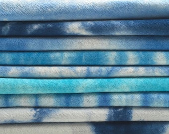 ON SALE - Blue Hand Dyed Tea Towels - Seconds - Super Sale - Blue Kitchen Towels - Flour Sack Kitchen Towels