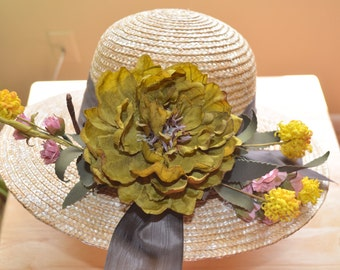 Milan Straw Hat. Kentucky Derby Hat. Saratoga Hat. Natural woven straw hat. Medium Brim. Summer Hat. OOAK