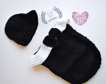 Crochet Baby Outfits, Crochet Baby Gentleman Sleeping Suit, Infant Baby Suit Clothing, Infant Suit Blanket and Hat