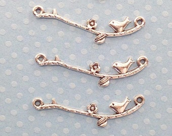 Bird on branch Charms. 25 pcs Antique Silver Alloy bird on branch Charms 10x39mm. Creative parts & Findings for jewelry making. - (25-0001O)