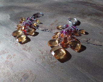 Citrine, Carnelian, Garnet and Sterling Silver meake up these Lovely Cluster earrings