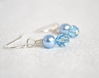 Crystal Pearl & Sterling Silver Earrings