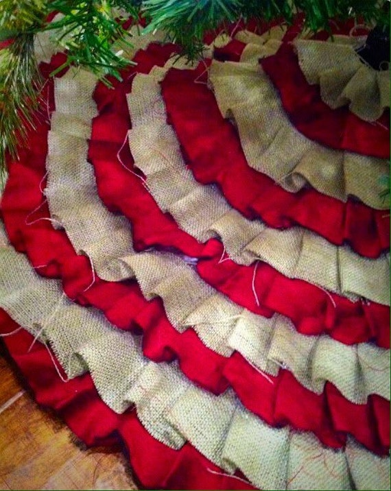 Burlap christmas tree skirt pre sale on by emoryandivy