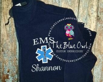 Star of Life Paramedic/EMT/EMS Custom Monogrammed Full Zip Fleece Jacket