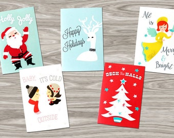 Set of Five Retro-Style Christmas/Holiday Cards (Santa, Couple, Deer, Tree, and Angel) with Envelopes