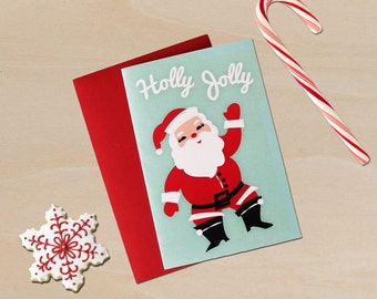 "Retro Santa Claus 4 by 6 Inch 1950's-Style Christmas/Holiday Card- ""Holly Jolly"""