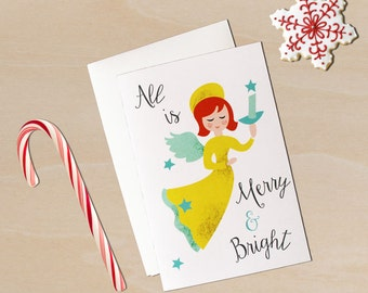 "Retro Christmas Card- Angel Retro 1950's-Style 4 by 6 Inch Christmas/Holiday Card ""All is Merry and Bright"""