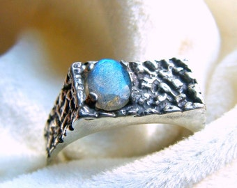 Faceted Labradorite Men's Ring in Sterling Silver