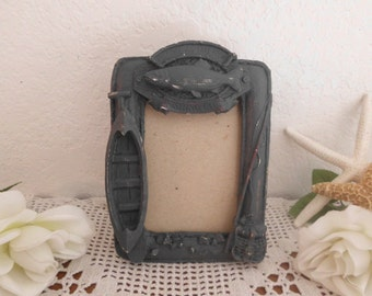 Blue Fishing Picture Frame 3.5 x 5 Photo Decoration Rustic Shabby Chic Lake House Cabin Nautical Cottage Home Decor Birthday Gift Him Her