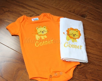 Lion Applique Onesie/Burp Cloth Set