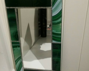 Leadlight Mirror with Green White Black Coloured Frame
