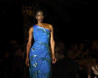 Evening formal, sequin long dress, light blue with leaves, one shoulder gown