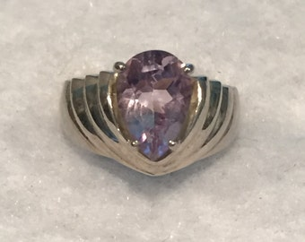 ISC Sterling Pear Shaped Amethyst Ring - Size 7 - CA 1970's - Item R109