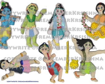Krsna Balaram cowherd boy Feltboard figures for magnetic printing, paperdolls, animal friends PDF Remember Krishna perfect Goverdhan playset