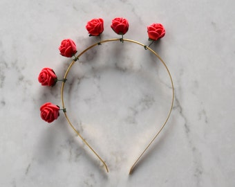 Red Rose Flower Headpiece / Fascinator - Gold Headband
