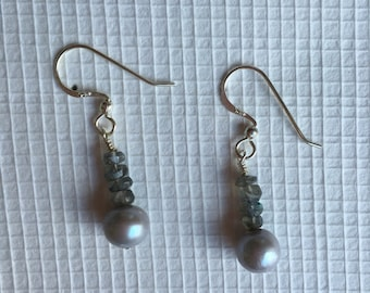 Sterling Silver, Raw Pearls and Labradorite  Earrings