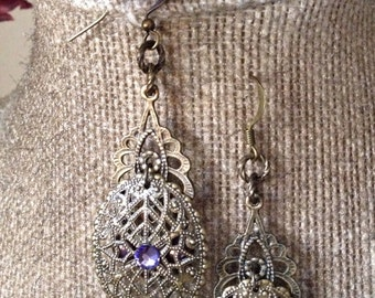 Amethyst and antique brass earrings