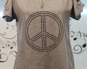 Oversized shirt with rhinestones top with cut outs high low cut out shirt with rhinestone Peace sign grey XS S M L XL XXL