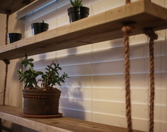 Reclaimed wood and rope shelves - hanging shelves - reclaimed wood - display shelves