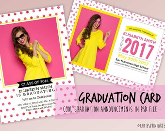 Graduation Card - Photoshop Template - PSD file - INSTANT DOWNLOAD