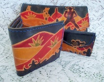 Vintage 3 piece set, Clutch, Wallet & Coin Purse, Cowboy and Cactus, Hand Tooled and Painted Leather, Mediterranean Trading Co