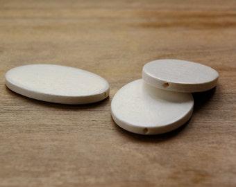 WWO01, White wood bead, natural wood bead, oval white wood bead, spacer beads, flat white bead, oval flat white wood beads 40x60mm