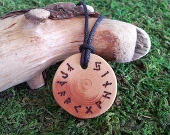 Runic Wheel: White Pine Elder Futhark rune pendant wood necklace with black waxed cotton cord