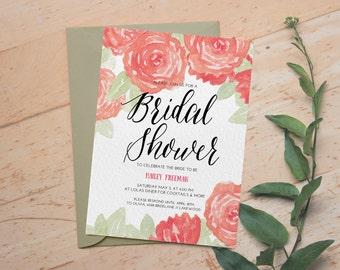 Digital Bridal Shower Invitation, Bachelorette Party Invitation, Bridal Shower Invite, Pink Floral Design Bridal Shower, Printed Invitation