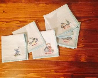 Linen embroiderd dinner napkins
