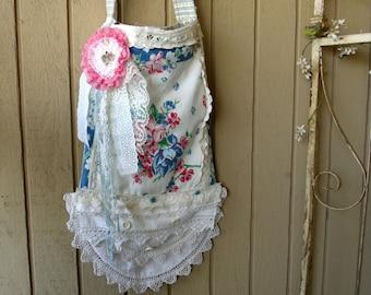 SALE Cross Body Messenger Purse Bag, Vintage Towel Purse, FREE SHIPPING Ticking Lining, Handmade, One of a Kind, Shabby Cottage, Boho Chic