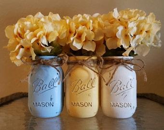 Mason Jars - Blue, Yellow and White Painted and Distressed Mason Jars