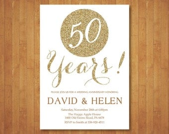 50th Wedding Anniversary Invitation. Gold Glitter. Gold and White. 10th 20th 25th 30th 40th Any Year. Printable Digital. Customized Card