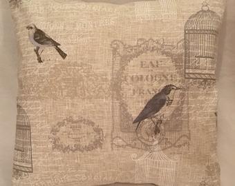 Fryetts Vichy Natural Bird French script fabric cushion cover