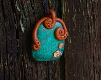 Pendant Turquoise and rock crystal cabochon handmade - Lithotherapy - Pierre and Fimo - ॐ