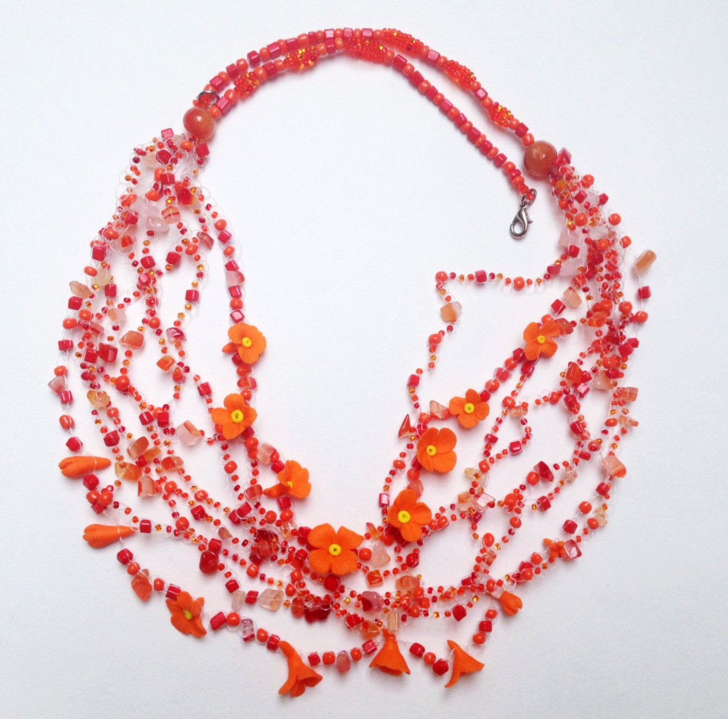 ORANGE JEWELRY Flower necklace Floral Ethnic by MasterMommy