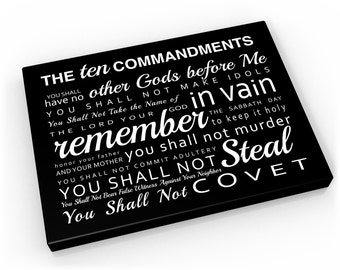 The 10 Commandments on canvas, Religious Word art, Ten Commandments Subway Sign Scripture Canvas - 10 Commandments (the ten commandments)